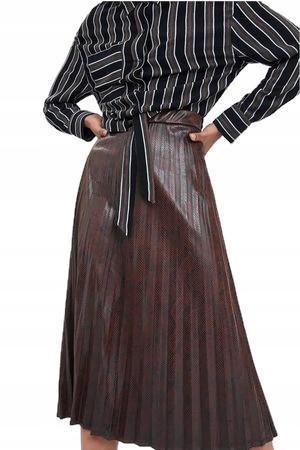 ZARA brązowa plisowana spódnica skóra S 36 NOWA