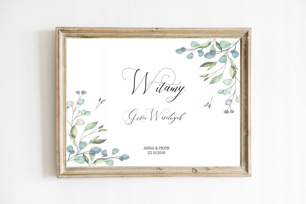 Plakat powitalny, personalizacja, na wesele, 50x70