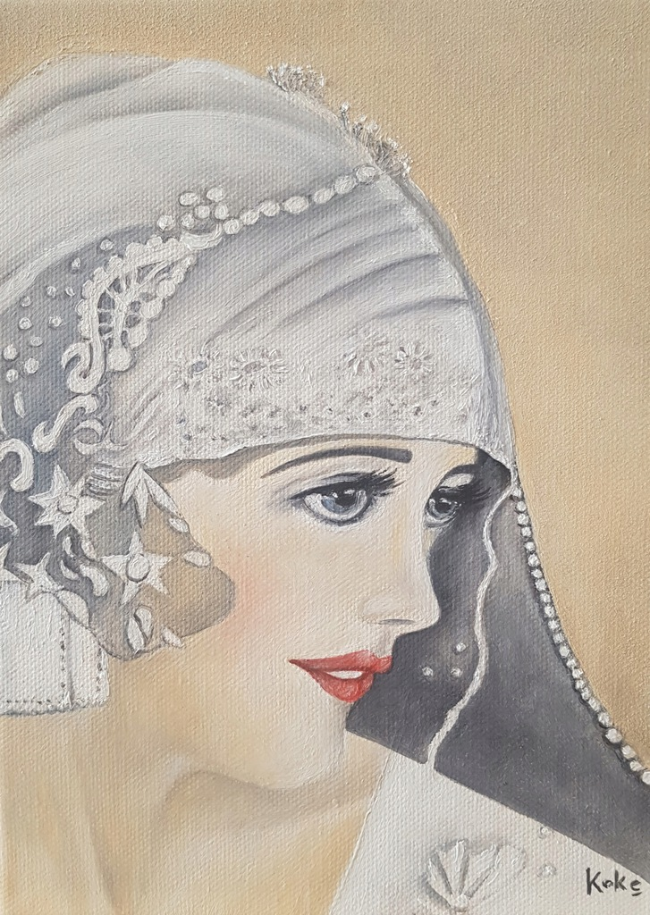 Obraz olejny kobieta koronka portret lata 20