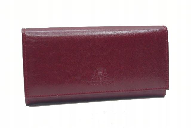 Vittorini damski skórzany portfel bordowy PL b