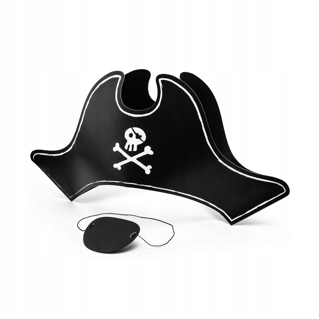 Czapka Pirata papierowa z opaską na oko 14 cm