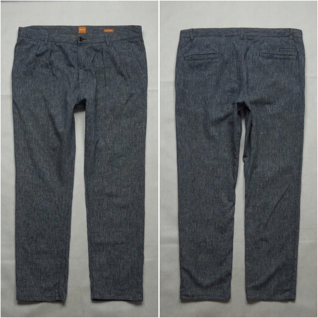 HUGO BOSS Lniane eleganckie spodnie chino 54 38x32