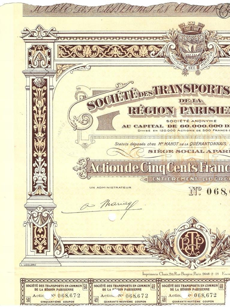 !TOWARZYSTWO TRANSPORTU PARYŻA! S. DEKO! 1921!