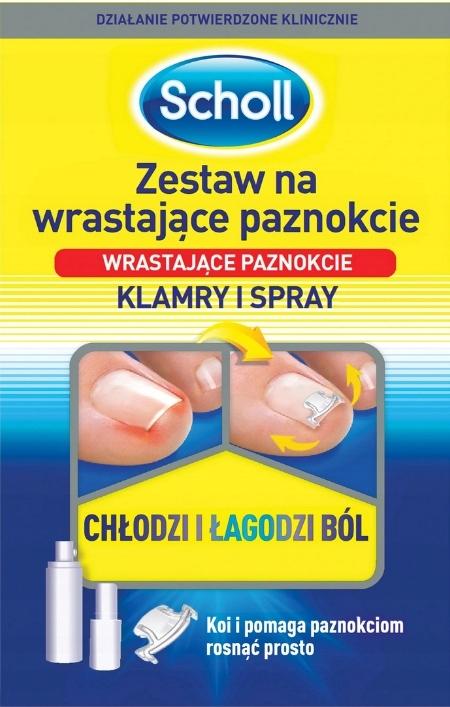 SCHOLL ZESTAW NA WRASTAJĄCE PAZNOKCIE klamra+spray