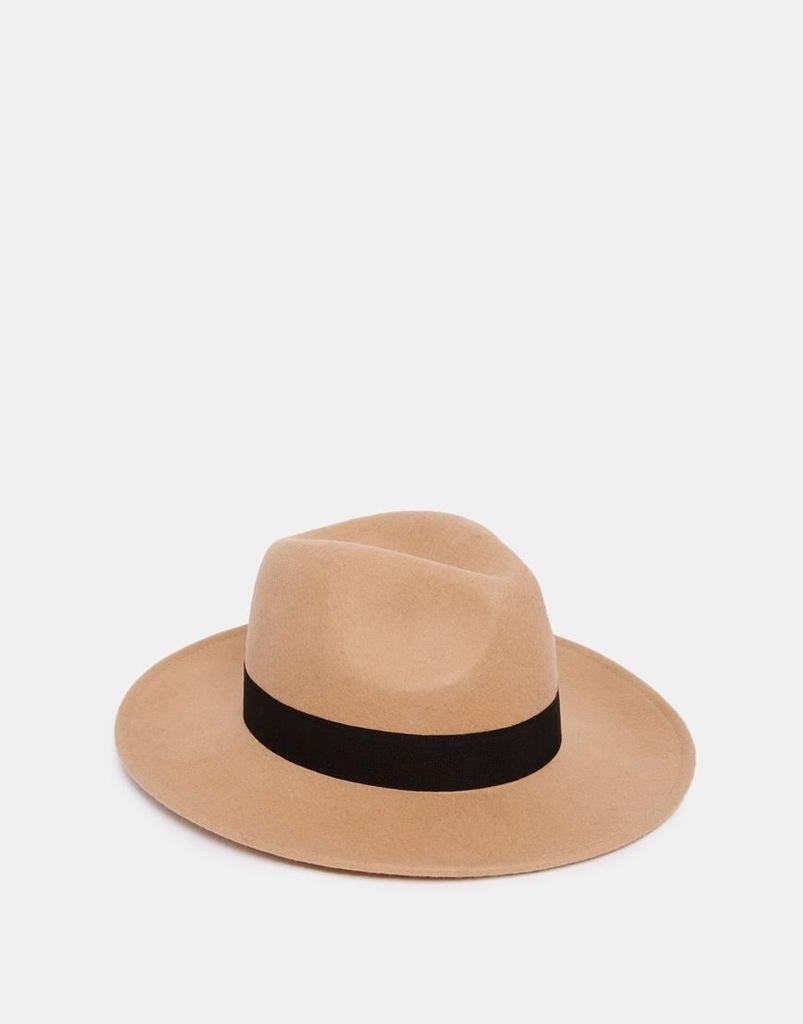ASOS wełniany kapelusz pasek klasyk jasny brąz