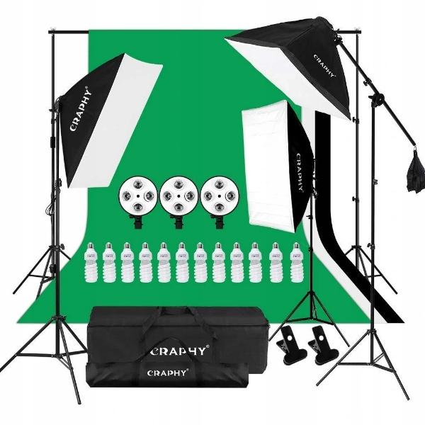 CRAPHY Photo Studio Zestaw Softbox, 3xTło, 12 x45W