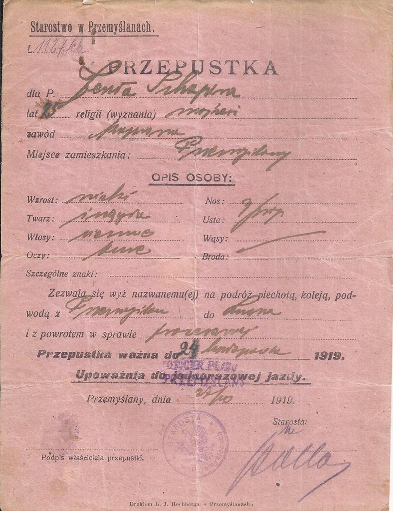 PRZEPUSTKA JENTA SHAPIRA JUDAIKA PRZEMYŚLANY 1919
