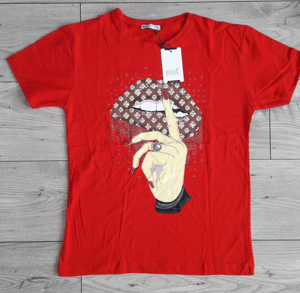T Shirt Mint Usta Cekiny Ozdoby Rozm M Zara 8298580555 Oficjalne Archiwum Allegro