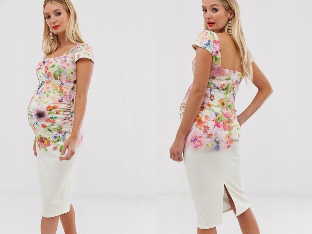 True Violet Kremowa kwiecista sukienka midi XL