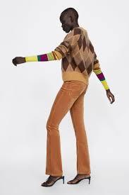 ZARA Rozkloszowane spodnie sztruksowe 38