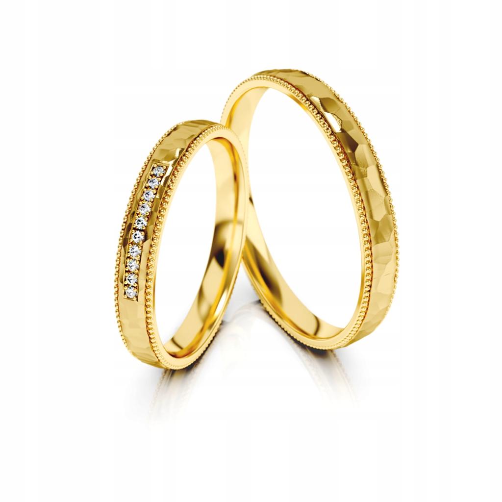 Złote obrączki ślubne 321 ST pr.585 3 mm