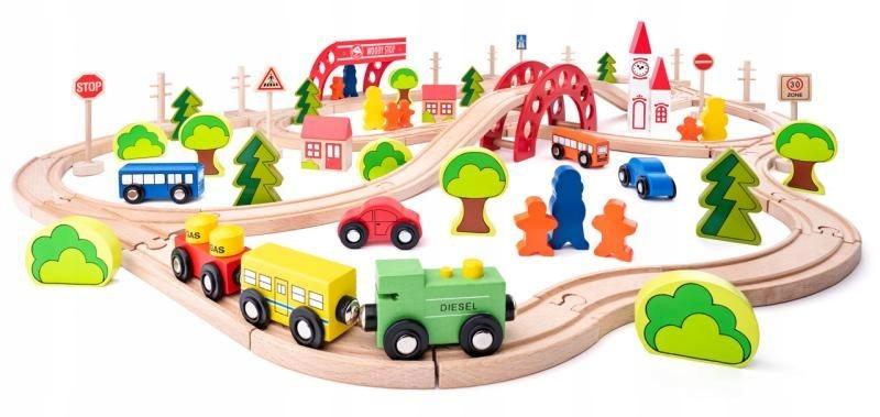 Woodyland Kolejka drewniana +most 90el Dla dzieci