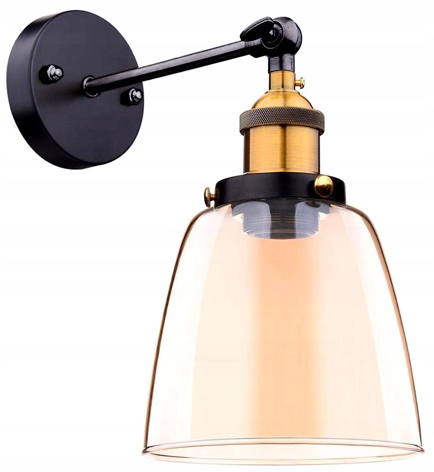 Kinkiet szklana lampa E27 EP012 Złota amber
