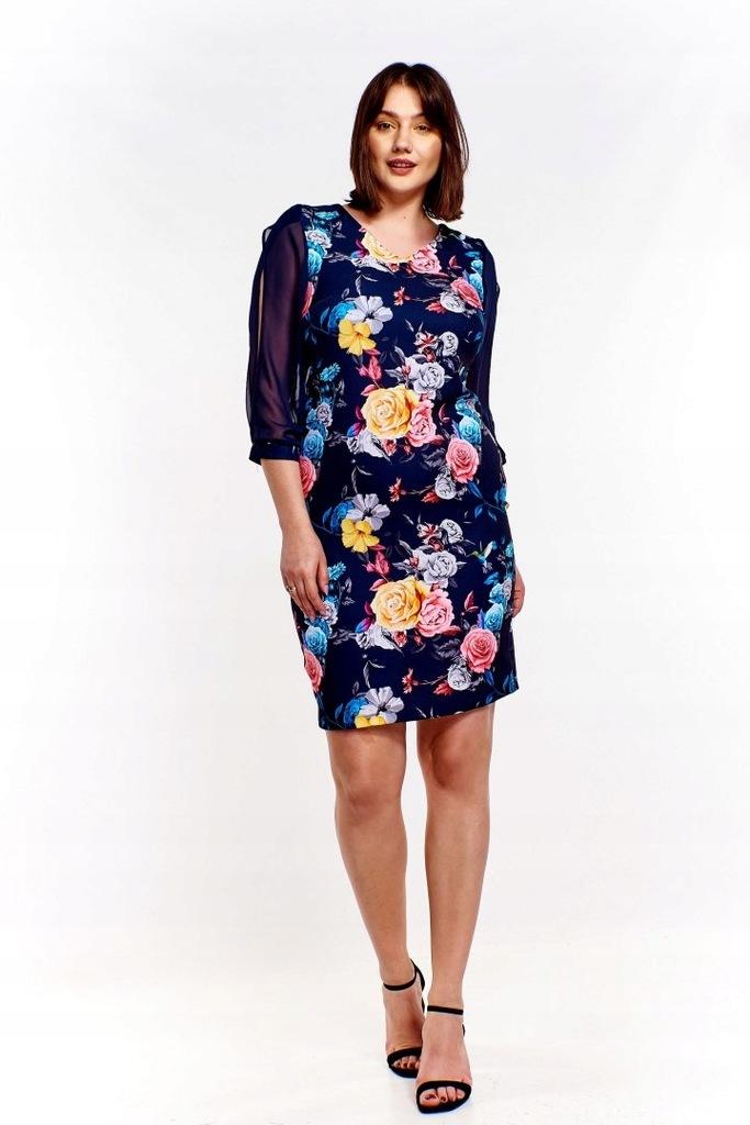 Sukienka w kwiaty z przejrzystymi rękawami z rozci