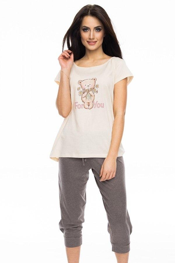 Piżama damska SAL-PY-1052 Rossli beż S