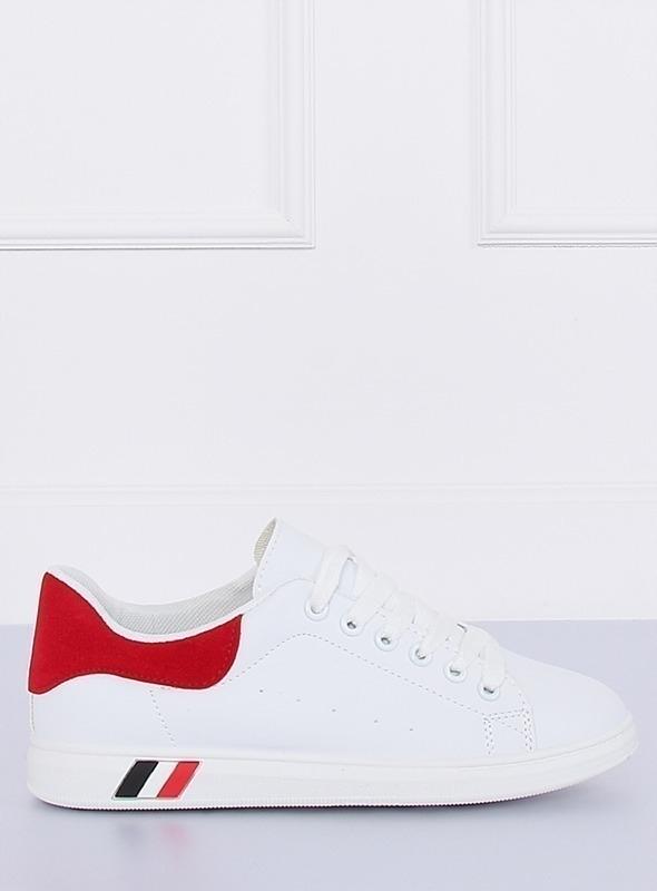 Trampki damskie biało czerwone BL147P
