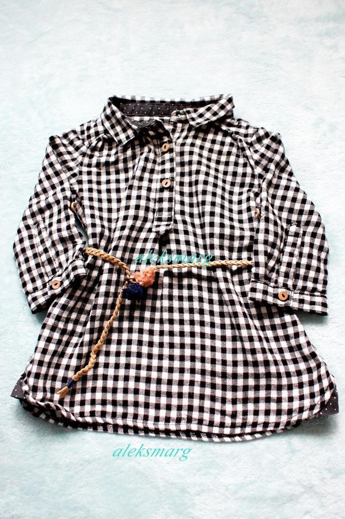 Tunika w kratkę dla dziewczynki ZARA 68 cm