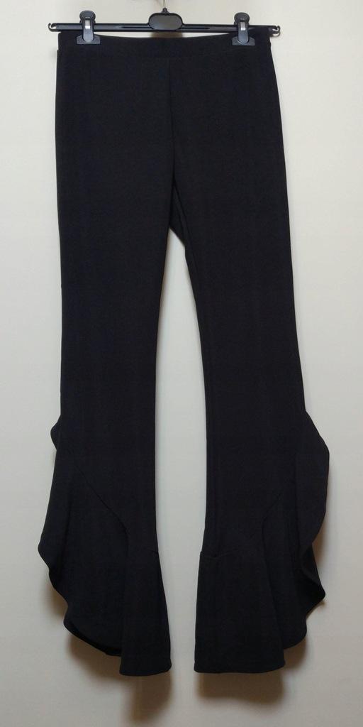 ZARA czarne spodnie dzwony falbany M 38 NOWE