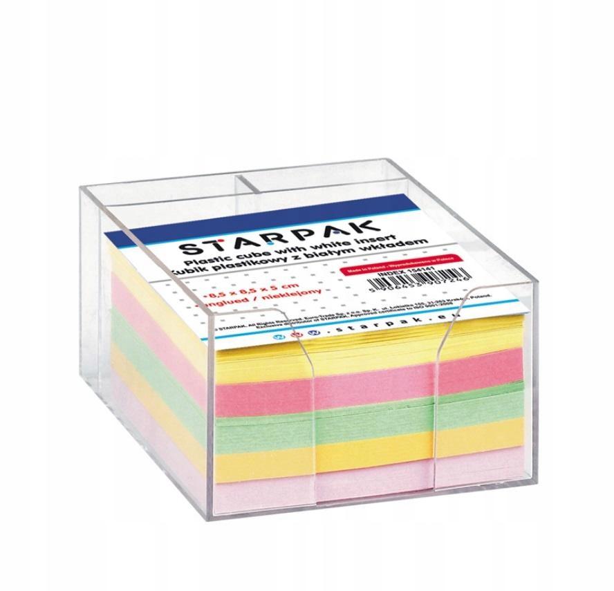 Kubik plastikowy kolorowe karteczki 85x85mm