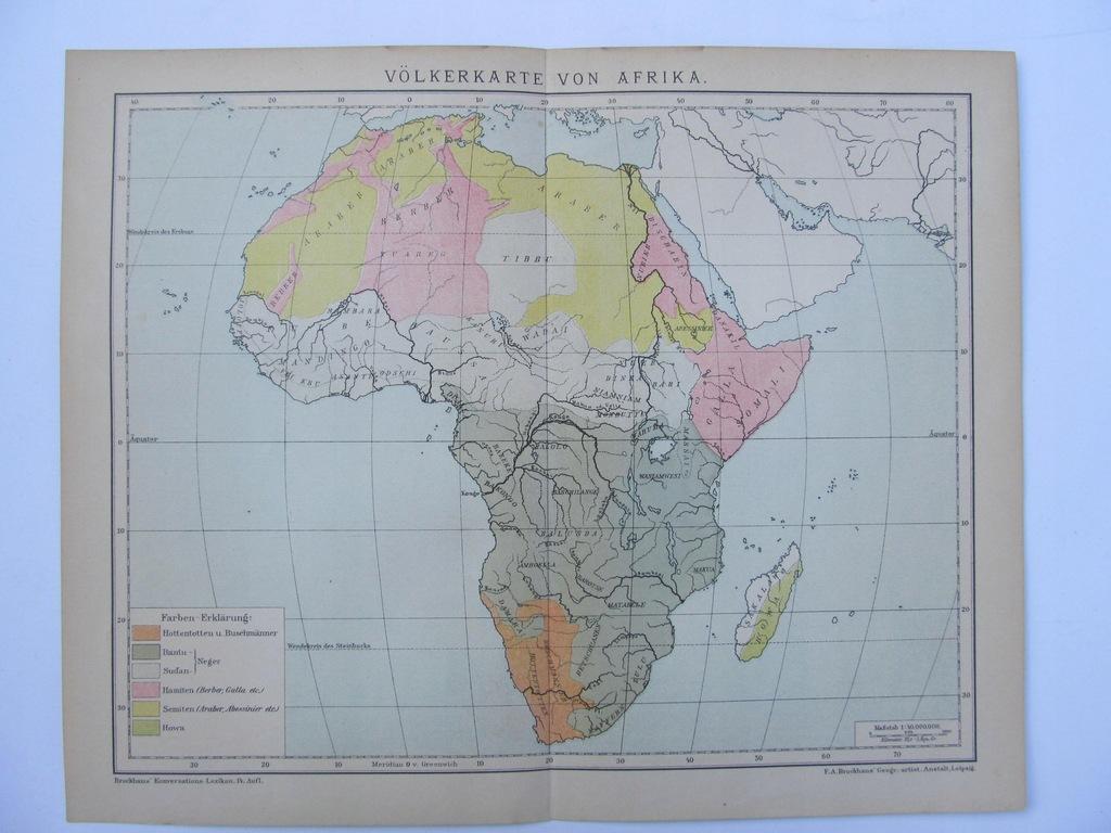 AFRYKA NARODY AFRYKI mapa 1898 r.