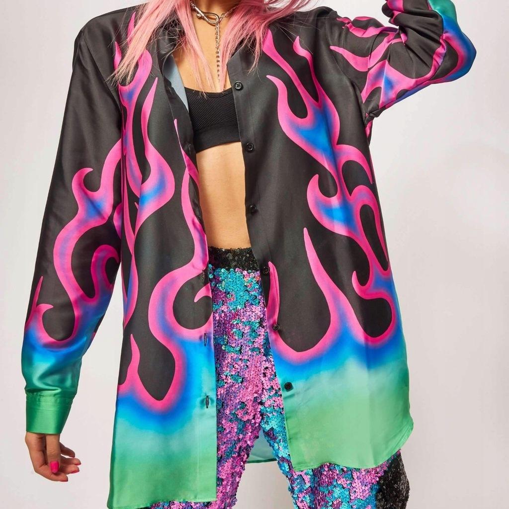 Koszula Jaded London Neon Flame Print Oversized M