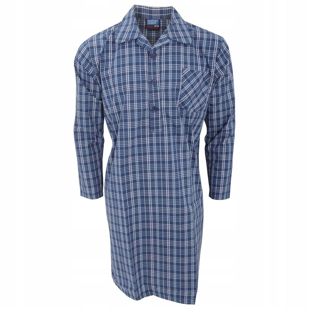 Męska koszula nocna długi L Niebieski/Błękitny