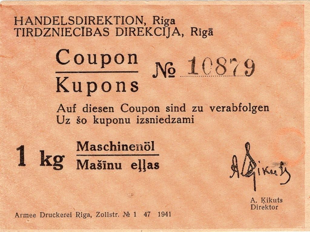 Ryga 1941r kupon na olej do masyn