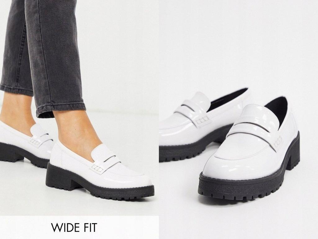 Co Wren Wide Fit Białe loafersy na platformie 41