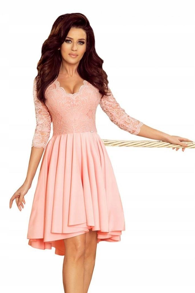 210-7 NICOLLE - sukienka z dłuższym tyłem z koronk