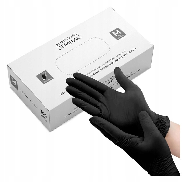 czarne Rękawice nitrylowe SEMILAC rękawiczki M