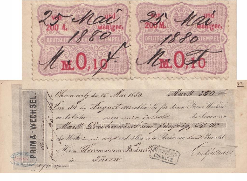 Toruń 1880 Chemnitz Weksel revenue
