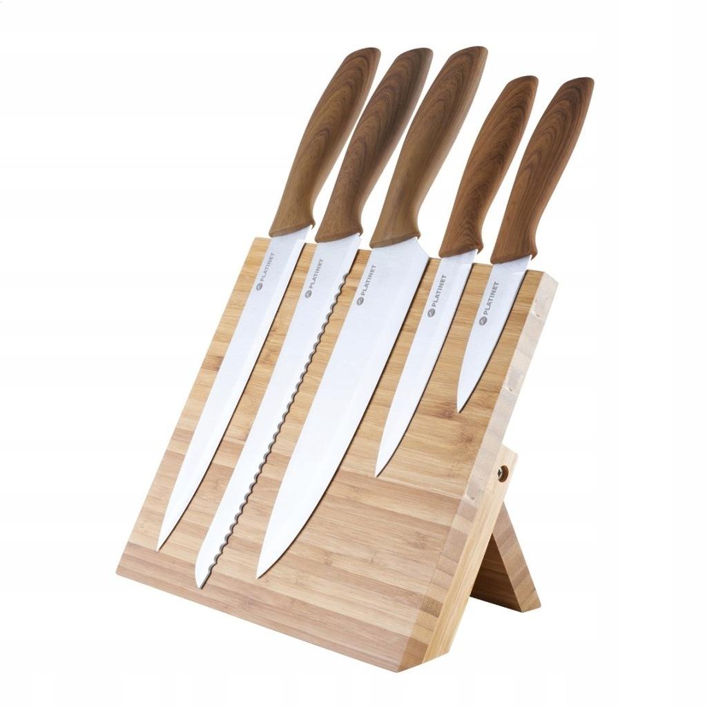 Zestaw pięciu noży i magnetyczną podstawką