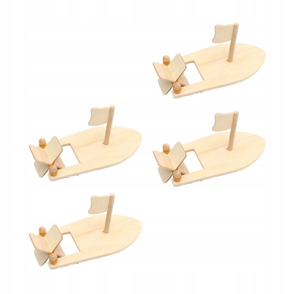 4szt Modele łodzi żaglowych Drewniane rękodzieło a