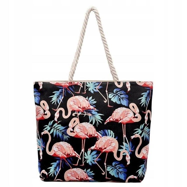 TORBA PLAŻOWA CZERŃ Flamingi
