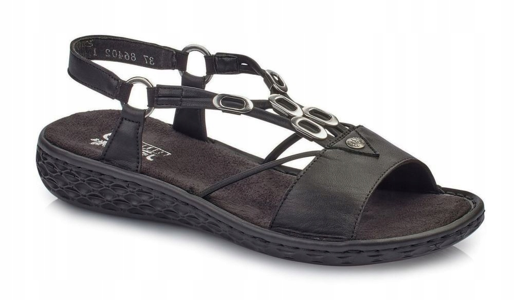Sandały RIEKER V22L9 00 Czarne skórzane