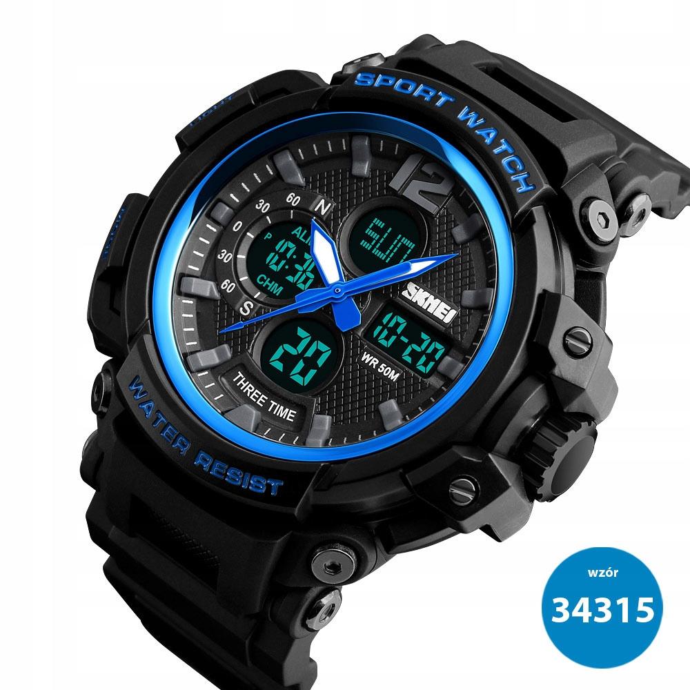 Blue LED Zegarek Japoński styl metalowy