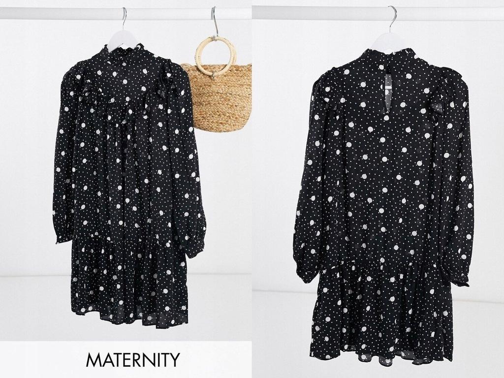New Look Maternity Czarnobiała sukienka falbanka L