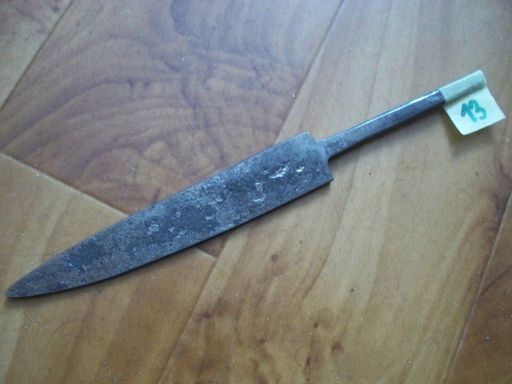Nóż-Głownia noża kuta,hartowana Nr 13