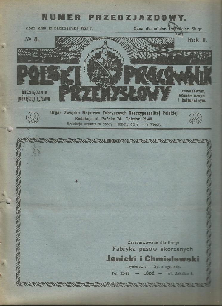 1925 ŁÓDZ TOMASZÓW MAZOWIECKI OZORKÓW PABIANICE