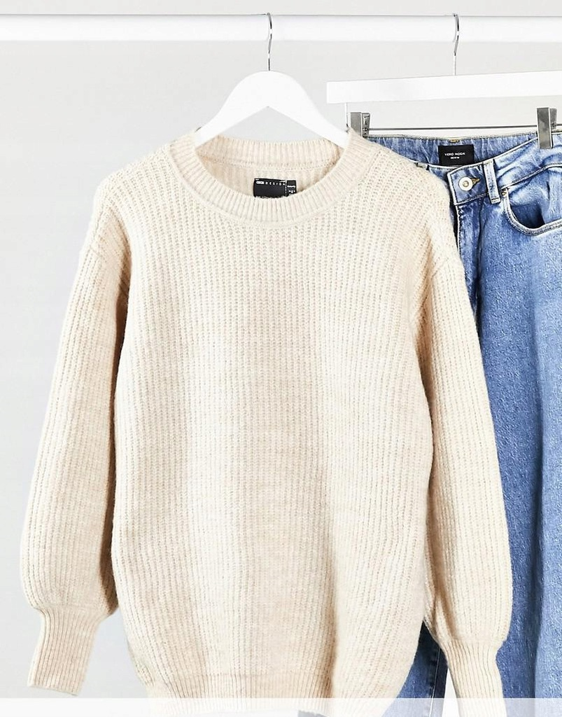 19L074 NW9 BEŻOWY SWETER CASUAL__S