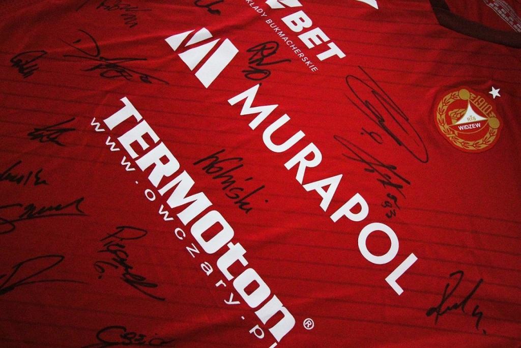 Widzew Łódź - koszulka meczowa z autografami