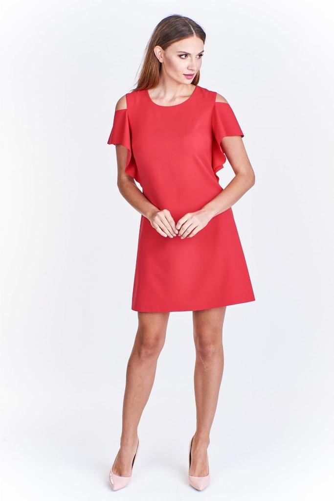 Trapezowa Sukienka Z Wycieciami Na Ramionach 8483825467 Oficjalne Archiwum Allegro