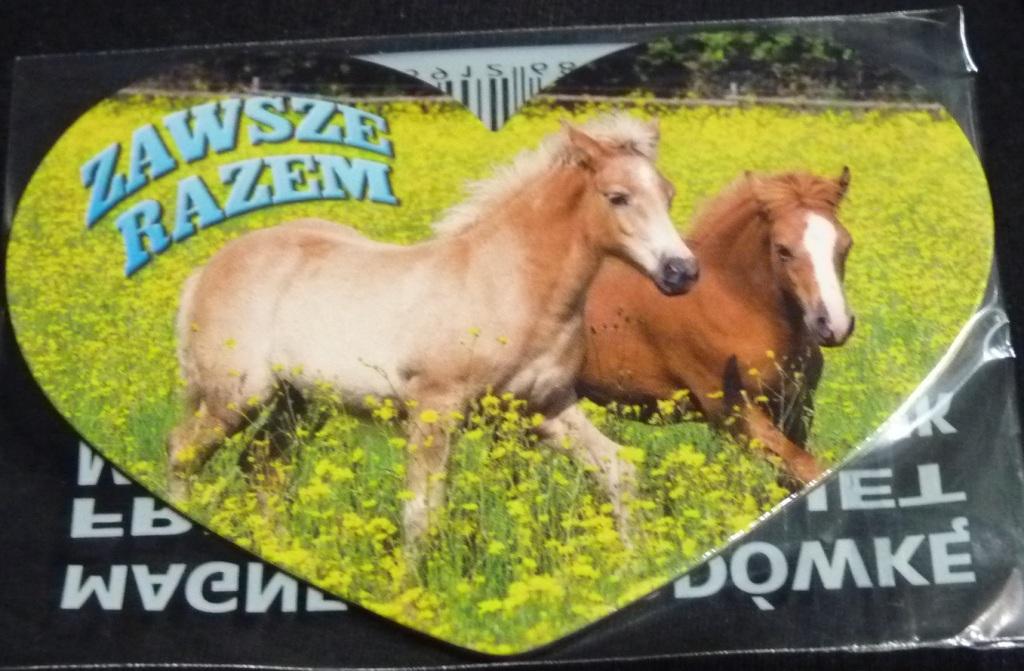 Konie, walentynki, serce  - magnes na lodówkę NOWY