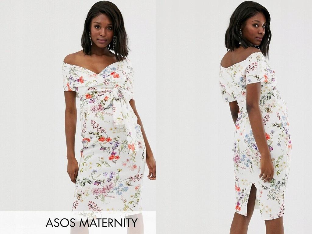 DESIGN midi sukienka ciążowa w kwiaty 48