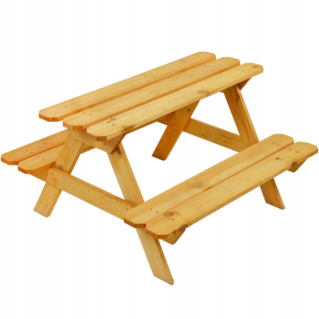 Stolik piknikowy z ławeczkami drewniany dla dzieci