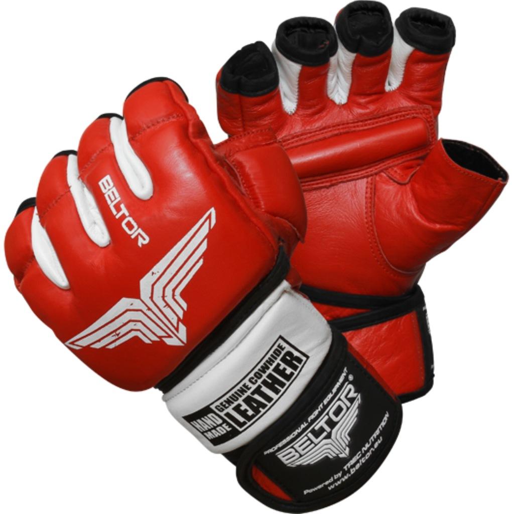 TREC BELTOR RĘKAWICE MMA COMBAT RED WHITE SKÓRA M