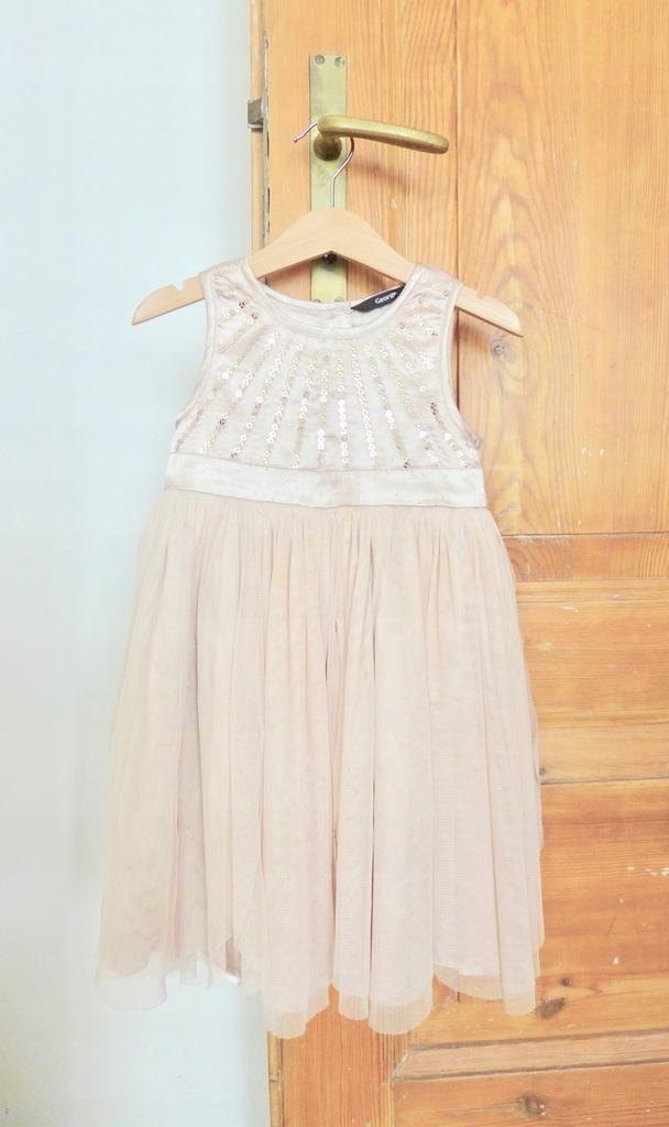 Elegancka sukienka cekiny tiulowa 98