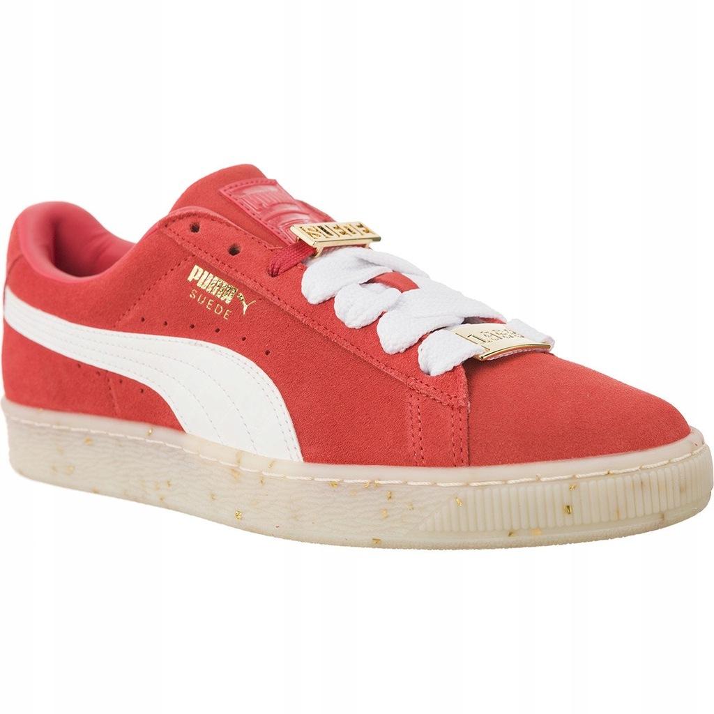 Bia?e Czerwone Zamszowe Buty Sportowe Puma r.39