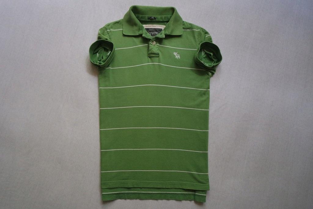 ABERCROMBIE FITCH koszulka polo paski zielona____M