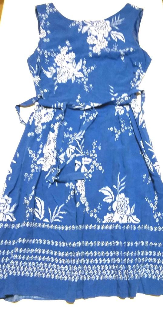 F&F niebieska sukienka w kwiaty 42